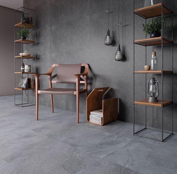 Produtos Pietra Lavia 53x106 e Wallpaper Grigio 53x106
